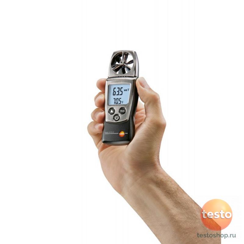 Карманный анемометр с крыльчаткой и сенсором влажности Testo 410-2