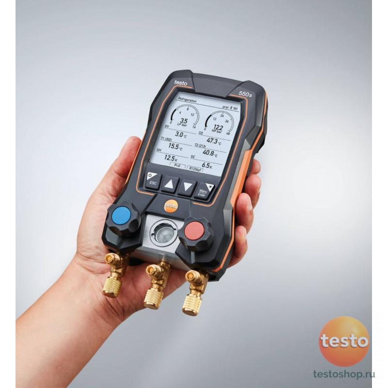 Комплект 3 -Цифровой манометрический коллектор исмарт-зонды зажимы температуры и набор из трёх заправочных шлангов Testo550s