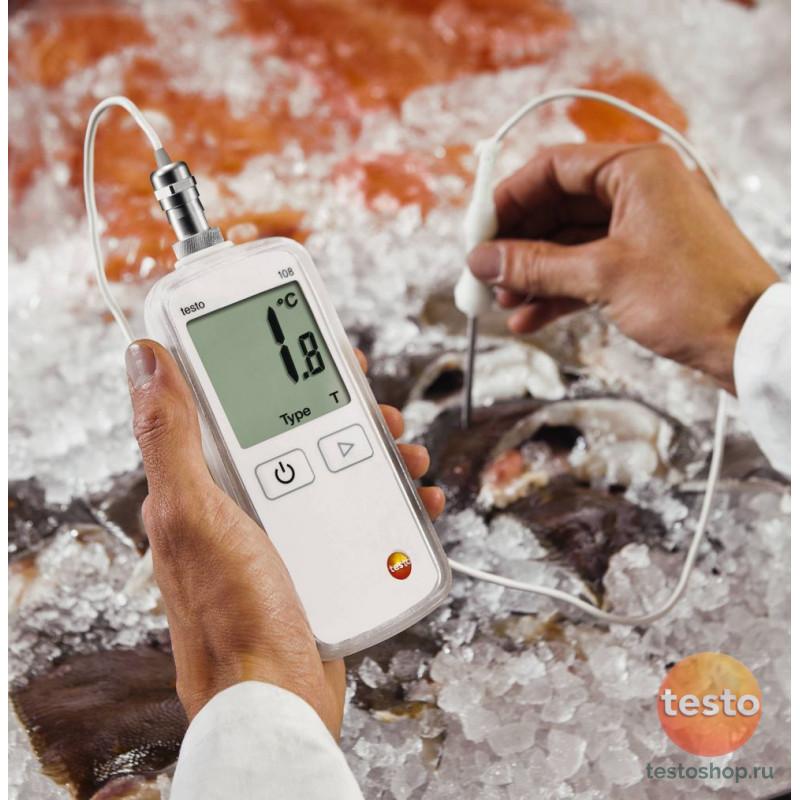 Водонепроницаемый термометр с возможностью подключения зондов т/п Тип Т и К Testo 108-2